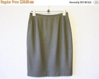ON SALE Gray Pencil Skirt  Fine Wool Blend Mini High Waist Grey Office Skirt Size Medium