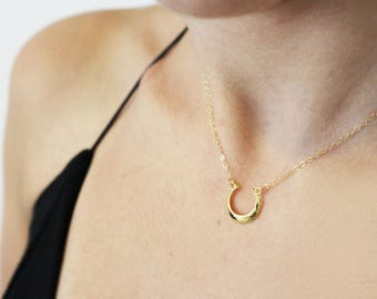 Horn Necklace / Upside Down Moon / Half Moon Necklace / Gold Horn Necklace