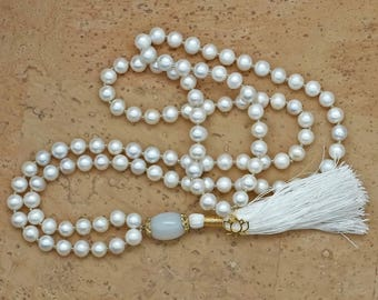 Pearl Mala Necklace with gold lotus, silk tassel