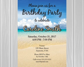 Adult Birthday Party Invitation | Tropical Beach Photo Background | Custom Invitation | *DIGITAL FILE*