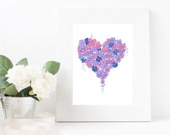 Pink heart stationary digital download