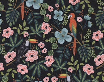 Pre-Order SALE Menagerie by Rifle Paper Co PRE ORDER/ Paradise Garden in Midnight, Quilting Cotton  Fabric Canada/ 8028-01 half yard