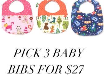 Baby Bib Set - Baby Gift Set - Baby Girl Bibs - Baby Boy Bibs - Baby Shower Gift - Expectant Mother Gift - Baby Bibs Handmade - Baby Bibs