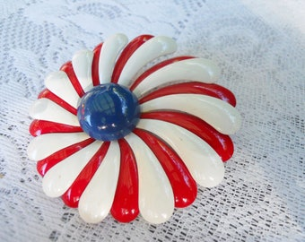 Vintage Enamel Flower Brooch Red, White and blue