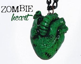 Zombie heart pendant   Zombie necklace   Anatomical heart   Halloween jewellery   Halloween accessories   Alternative jewellery