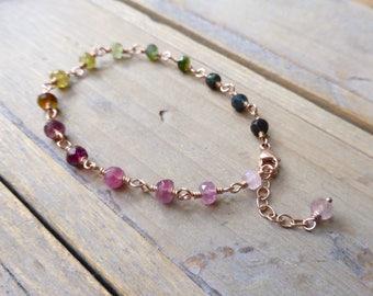 Rainbow Tourmaline Rose Gold Rosary Link Bracelet