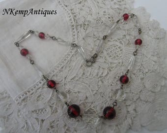 Cranberry glass necklace 1930's