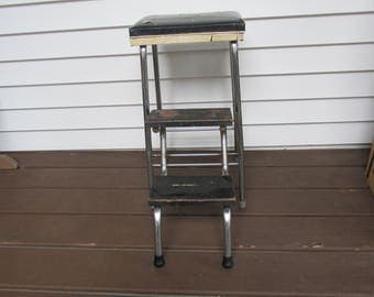 Vintage Fold Out Step Stool Chair