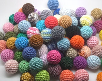 100 beads 20mm multicolored crocheted