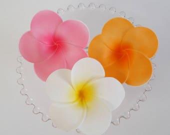 "3 Gum Paste Plumerias, 3"" wide, Edible Flower, Cake or Cupcake Topper"