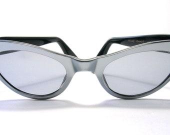 1950s Pale Silvery Blue Cat Eye Sunglasses - France - Vintage Sunglasses