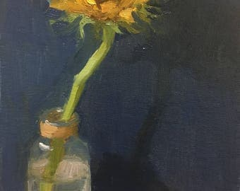 Shine bright, Beautiful Original small oil painting by Bhavani Krishnan Sunflower in glass vase still life Wall Decor Small painting 6x8