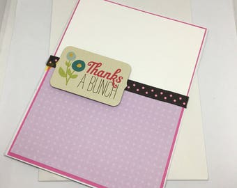 THANKS A BUNCH Handmade Greeting Card / Thank You card / Thanks / Floral Card
