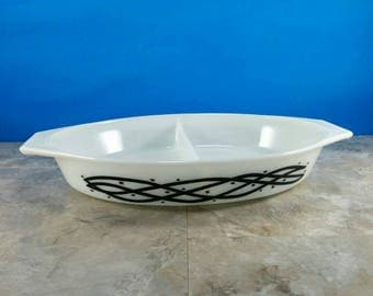 Vintage Pyrex Barbed Wire Divided Casserole Dish White with Black Barbed Wire Design