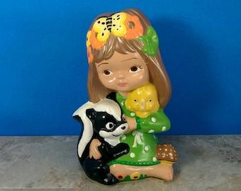 Vintage Large Chalkware Girl with Skunk and Flowers in Hair - 1970's Kitsch Art Piece - Figurine Sculpture - Handpainted - Girls Room