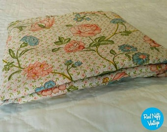 vintage full size floral flat sheet pink and blue flowers retro sheet kitsch