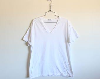 XLARGE Vintage 1990s Jockey Plain White V-Neck T-Shirt