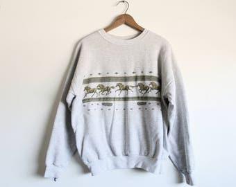 LARGE Vintage 1990s Horses Pullover Sweatshirt