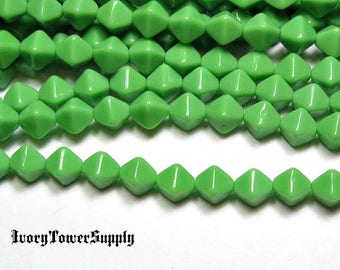 6mm Czech Glass Bicone Beads, Light Green Beads, Glass Beads