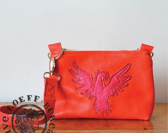 Phoenix Messenger Bag Small - Soft Cow Leather Messenger Bag with Illustration- hot pink red phoenix