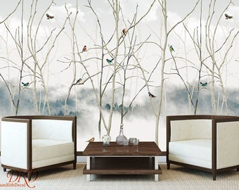"Soft Chinoiserie Wall Mural on grey ink landscape, Tree with Birds, Peel & Stick Removable Wallpaper, Wall Decal, Wall Stickers--118"" x 79"""