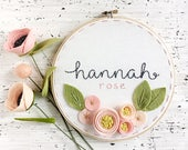 """8""""  Name with 3 Dimensional Flowers - Personalized Felt and Embroidery Hoop Art - Nursery Decor - New Baby Gift"""