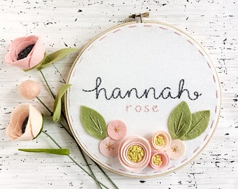"8""  Name with 3 Dimensional Flowers - Personalized Felt and Embroidery Hoop Art - Nursery Decor - New Baby Gift"