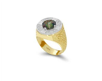 14k solid gold two tone men's diamond and rainbow mystic topaz ring.
