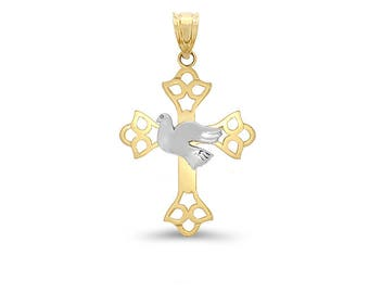 14k solid gold two tone cross with dove. religious jewelry, gold cross. peace cross