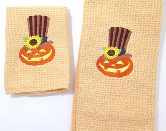 Jack-O-Lantern Halloween - Microfiber Hand Towel and Dish Towel- Butter