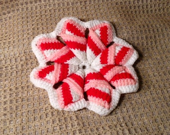 Cute Pot Holder, Hot Pad - Star or Flower Shaped - Pink, Red, & White - Girly, Feminine Kitschy Decor - Valentines Kitchen Serving