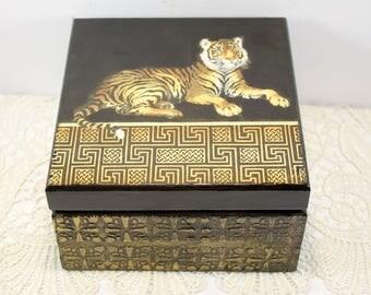 Gift for him Tea box Wooden tea box Retro Tea Storage Box Tea Bag Box Tea bag storage Tiger