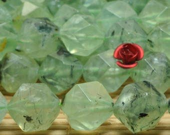 32 Pcs Natural Tourmalated Quartz  faceted Nugget  beads in 12mm