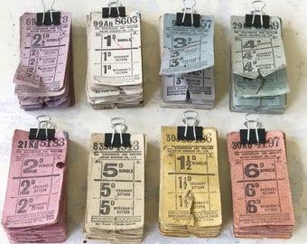 Eight wonderful original multi-coloured vintage bus tickets