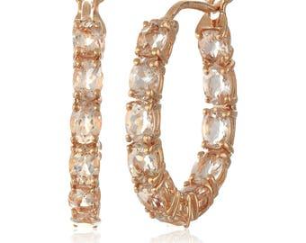 14K Rose Gold Over Sterling Silver 3.71ctw Morganite Hoops Earrings