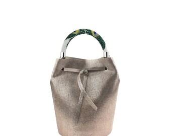 Leather Mini Bucket Bag (Bronze)