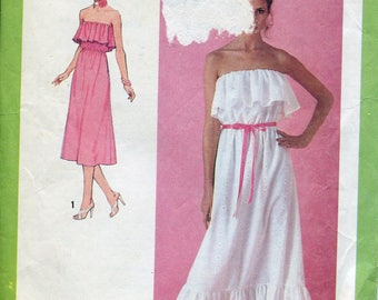 1970s Strapless Dress Pattern Simplicity 8956 Summer Dress Ruffled Skirts Vintage Womens Sewing Patterns Size 10, uncut