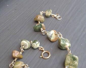ON SALE Shades of Green Rainforest Rhyolite & 14k Gold-filled Bracelet, Natural Gemstones Bracelet, Wire Wrapped, Crystal Healing,