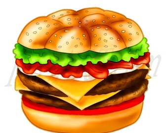 50% OFF Burger clipart, burger Clip art, Cheeseburger, Hamburger, Scrapbooking, Junk, Party, Invitations, Fast Food, Hand Drawn, Download