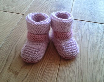 Baby Pink and light pink booties 0-3 months
