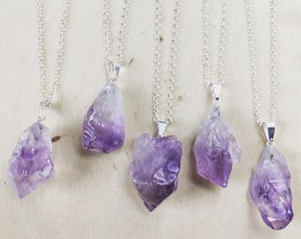 Raw Amethyst Necklace on Sterling Silver Chain: Rough Amethyst, Uncut Amethyst, Amethyst Pendant, Amethyst Necklace, Amethyst Jewelry, Point