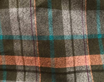 Coral and Brown Plaid Cotton/Poly Blend