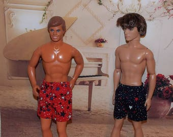 1:6 Scale Male Fashion Doll Clothes. 2 PK Shorts.  Independance Day, 4th of July, Red White & Blue.