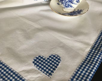 Vintage Handmade White Cotton Tablecloth w/ Blue & White Applique