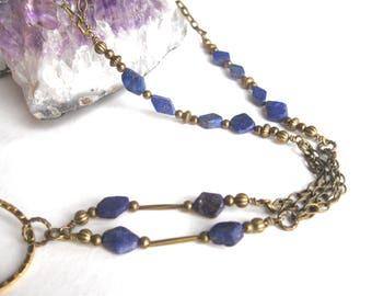 Lapis Lazuli Glasses Lanyard, Blue Glasses Holder, Eyeglass Lanyard, Beaded Lanyard, Glasses Necklace, Glasses Chain, Eyeglass Necklace