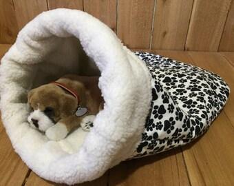 Snuggle Den, Black & White Paw, Flannel, Pet Bed, Sleeping Bag, Den, burrow bed. dog sleeping bag, snuggle sacks, cave beds