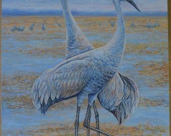 Large Oil Painting ~ Sandhill Cranes By Angela Ramsey Eveslage