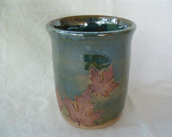 Handmade botanical stoneware crock