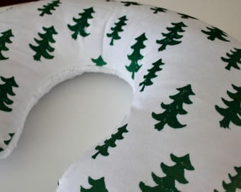 Christmas Evergreen Trees with White Lattice Minky Boppy Pillow Cover, Zipper Closure, Baby Boy or Girl, Baby Shower, Feeding, Nursing