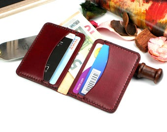 Handmade leather wallet,  Small wallet, Burgundy wallet